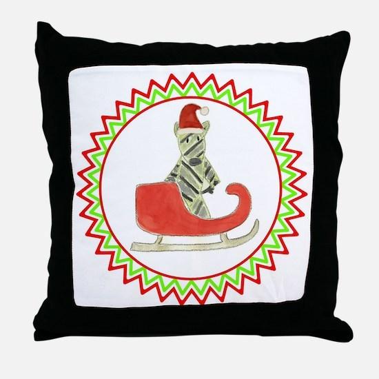 Santa Sleigh Zebra Zig Zag Throw Pillow