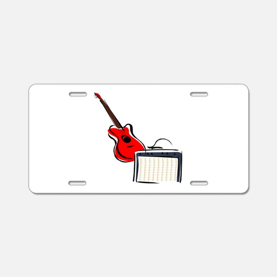 stylized guitar amp red. Aluminum License Plate