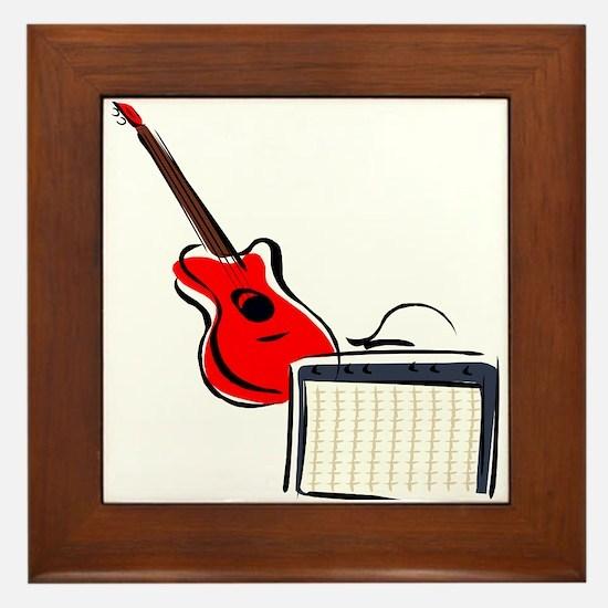 stylized guitar amp red. Framed Tile