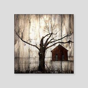 """winter farm house Square Sticker 3"""" x 3"""""""