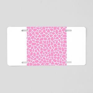 Pink Giraffe Pattern Aluminum License Plate