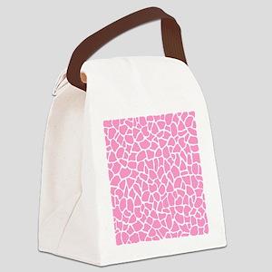 Pink Giraffe Pattern Canvas Lunch Bag