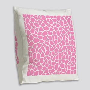 Pink Giraffe Pattern Burlap Throw Pillow