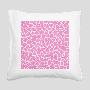 Pink Giraffe Pattern Square Canvas Pillow