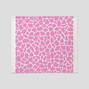 Pink Giraffe Pattern Throw Blanket