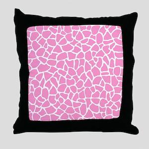 Pink Giraffe Pattern Throw Pillow