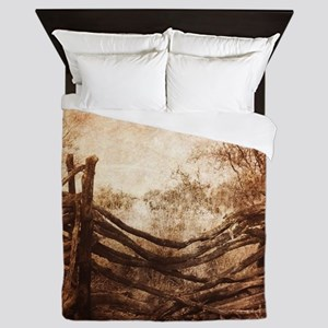 rustic farm frence Queen Duvet