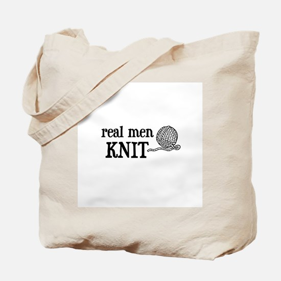 Real Men Knit Tote Bag