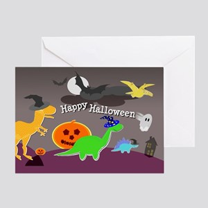 Happy Halloween Dinosaurs Kids Greeting Cards