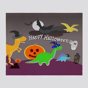 Happy Halloween Dinosaurs Kids Throw Blanket