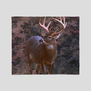 camouflage deer outdoor decor Throw Blanket