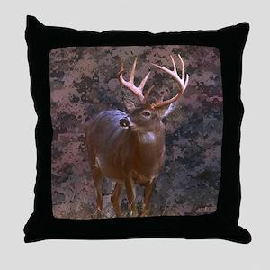 camouflage deer outdoor decor Throw Pillow