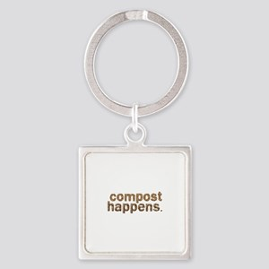 Compost Happens Square Keychain