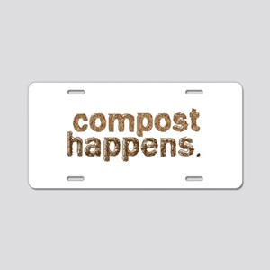 Compost Happens Aluminum License Plate