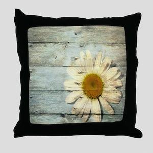 blue barnwood daisy Throw Pillow