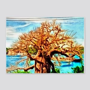 watercolor, tree on the river 5'x7'Area Rug