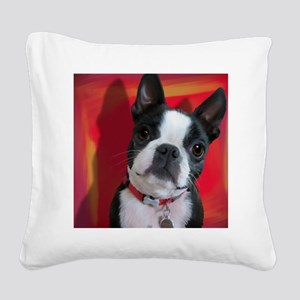 Ruthie the Boston Terrier Square Canvas Pillow