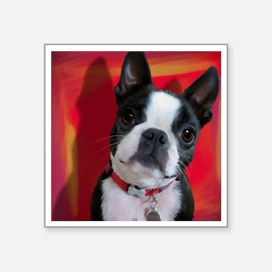 "Ruthie the Boston Terrier Square Sticker 3"" x 3"""