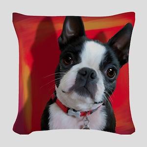 Ruthie the Boston Terrier Woven Throw Pillow