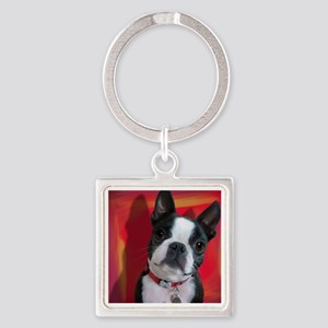 Ruthie the Boston Terrier Square Keychain