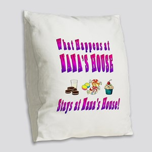 What Happens At Nana's House Burlap Throw Pillow