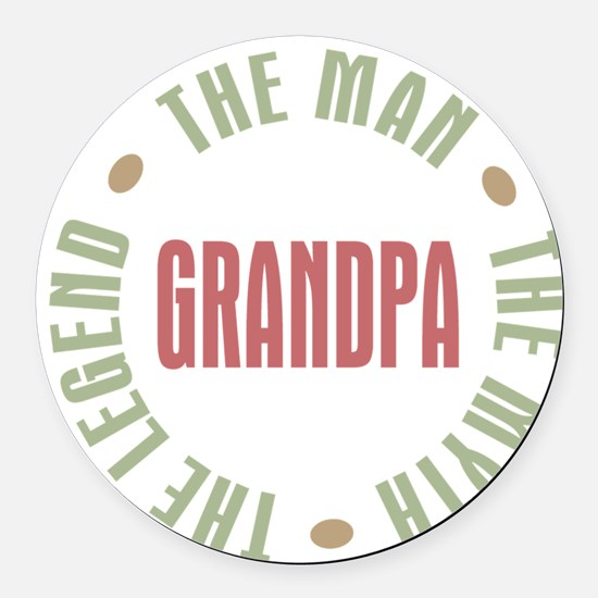 Grandpa The Man Myth Legend Round Car Magnet