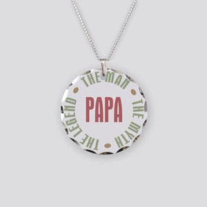 Papa Man Myth Legend French Necklace Circle Charm