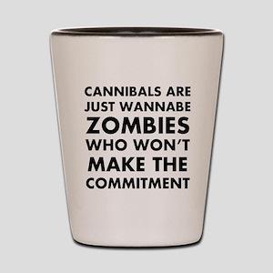 Cannibals Zombies Shot Glass