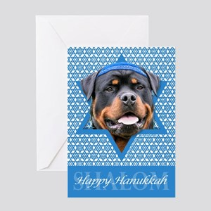 Hanukkah Star of David - Rottie Greeting Card