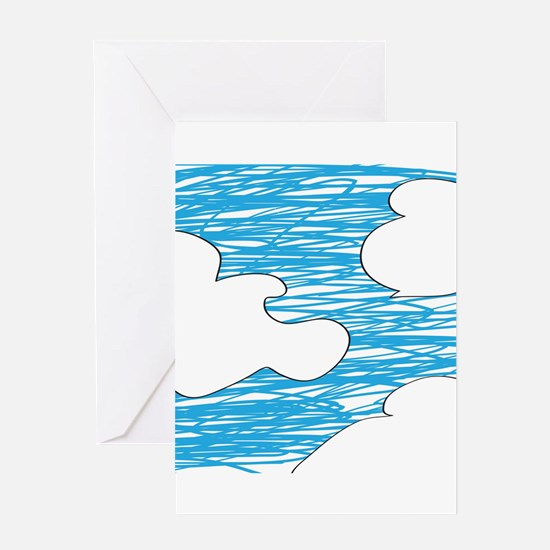 Scribble Clouds Greeting Cards