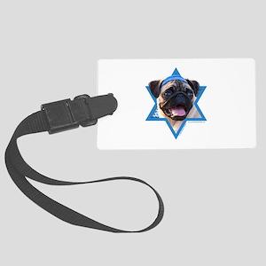Hanukkah Star of David - Pug Large Luggage Tag