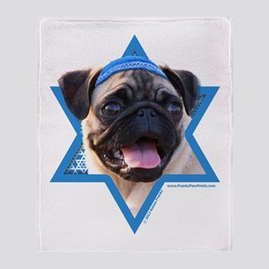 Hanukkah Star of David - Pug Throw Blanket