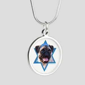 Hanukkah Star of David - Pug Silver Round Necklace