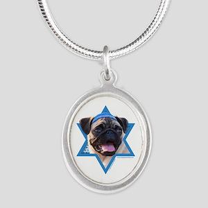 Hanukkah Star of David - Pug Silver Oval Necklace