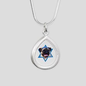 Hanukkah Star of David - Pug Silver Teardrop Neckl