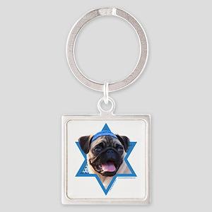 Hanukkah Star of David - Pug Square Keychain
