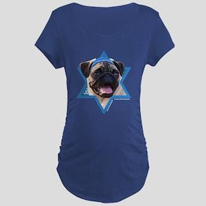 Hanukkah Star of David - Pug Maternity Dark T-Shir