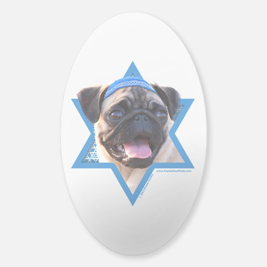 Hanukkah Star of David - Pug Sticker (Oval)