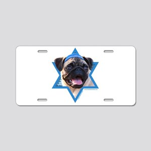 Hanukkah Star of David - Pug Aluminum License Plat