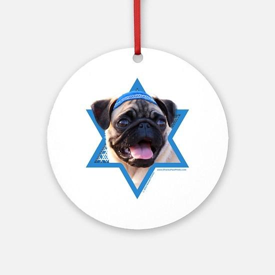 Hanukkah Star of David - Pug Ornament (Round)