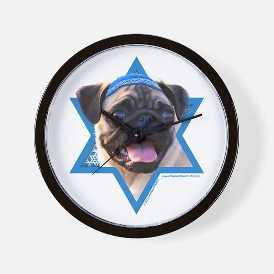 Hanukkah Star of David - Pug Wall Clock