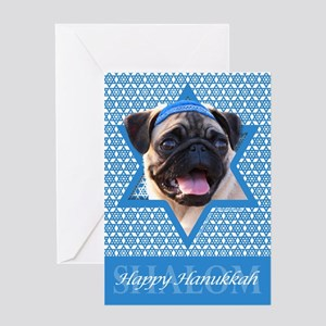 Hanukkah Star of David - Pug Greeting Card