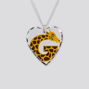 G is for Giraffe Necklace Heart Charm