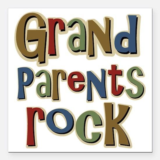 "GrandParentsRock Square Car Magnet 3"" x 3"""