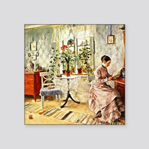 "Carl Larsson: Interior with Square Sticker 3"" x 3"""