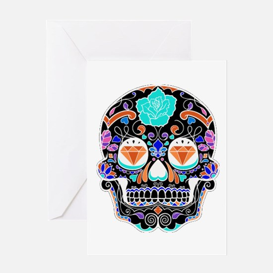 Dark Sugar Skull Greeting Cards
