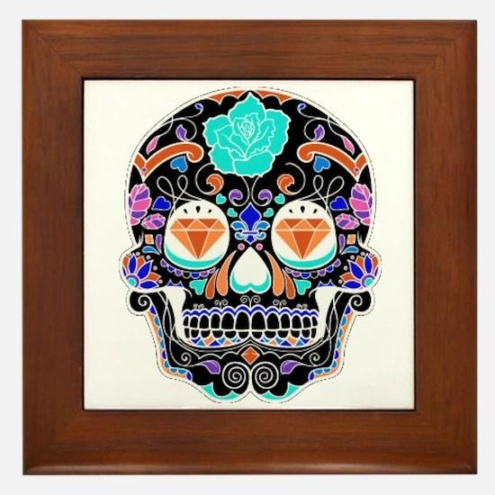 Dark Sugar Skull Framed Tile