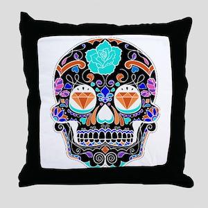 Dark Sugar Skull Throw Pillow