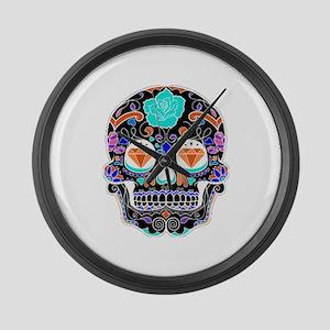 Dark Sugar Skull Large Wall Clock