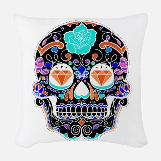 Dark Sugar Skull Woven Throw Pillow